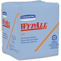Wypall L40 1/4-fold Wipers - 12 inch; x 12.50 inch; - Blue - Absorbent, Wet Strength, Reinforced, Quad-fold, Soft - For Face, Hand - 56 Sheets Per Pack - 672 / Carton