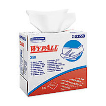 WYPALL X50 Wipers, 9-1/10 inches x 12-1/2 inches, White, Pop-Up Box, 10 boxes of towels
