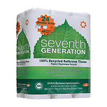 Seventh Generation 2-Ply Bathroom Tissue, 50% Recycled, White, 300 Sheets Per Roll, 24 Rolls Per Pack, Case Of 2 Packs