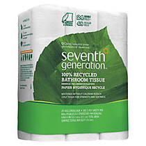 Seventh Generation; 2-Ply Bathroom Tissue, 100% Recycled, White, 300 Sheets Per Roll, Pack Of 24 Rolls