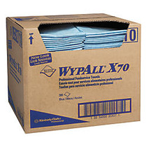 WypAll X70 1/4-Fold Food Service Towels, 12 1/2 inch; x 23 1/2 inch;, Blue, Carton Of 300