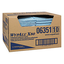 WypAll X80 1/4-Fold Food Service Fabric Towels, 13 1/2 inch; x 24 inch;, Blue, Carton Of 150