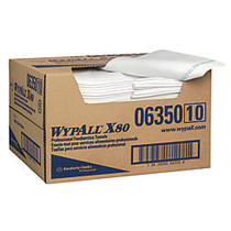 WypAll X80 1/4-Fold Food Service Fabric Towels, 13 1/2 inch; x 24 inch;, Blue/White, Carton Of 150
