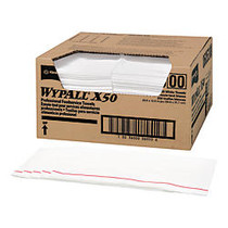 WypAll X50 Wipers, 23 1/2 inch; x 12 1/2 inch;, White, Carton Of 200