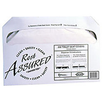 Rochester Midland Half-Fold Toilet Seat Covers, 250 Sheets Per Pack, Carton Of 20 Packs