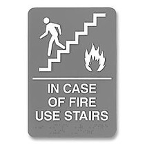 U.S. Stamp & Sign ADA Sign, 6 inch; x 9 inch;,  inch;In Case Of Fire Use Stairs inch;, Gray/White