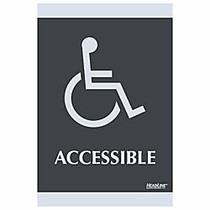 U.S. Stamp & Sign Century Series ADA Sign, 6 inch; x 9 inch;,  inch;Accessible inch;, Black/Silver