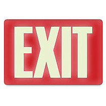 U.S. Stamp & Sign Glow-In-The-Dark Sign, 12 inch; x 8 inch;,  inch;Exit inch;, Red/White