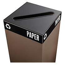 Safco; Public Square; Recycling Receptacle Lid, 2 inch; x 15 inch; Slot, 3/4 inch;H x 15 inch;W x 15 inch;D, Black