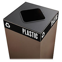 Safco; Public Square; Recycling Receptacle Lid, 8 inch; Square Opening, 3/4 inch;H x 15 inch;W x 15 inch;D, Black