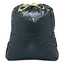 Webster; Drawstring Trash Can Liners, 33 Gallons, 1.2 Mil Thick, 33 inch; x 38 inch;, Black, Box Of 150