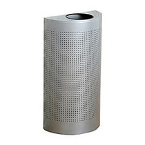 United Receptacle Open Top Half Round Waste Can, 32 inch;H x 18 inch;W x 9 inch;D, 12-Gallon, Silver