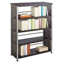 Safco Scoot Contemporary Design Bookcase - 36 inch; x 15.5 inch; x 47 inch; - 4 Shelve(s) - Material: Steel, Particleboard - Finish: Black, Laminate, Powder Coated