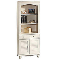 Sauder; Harbor View Bookcase With Doors And Drawer, 5-Shelf, 72 1/4 inch;H x 27 1/4 inch;W x 17 1/2 inch;D, Antiqued White