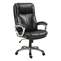 Serta; Big & Tall Puresoft; Faux Leather High-Back Chair, Roasted Chestnut/Silver