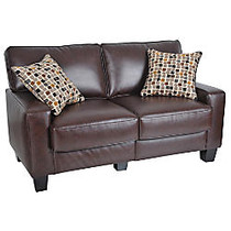 Serta; RTA Monaco Collection Leather Loveseat Sofa, 35 inch;H x 60 inch;W x 32 1/2 inch;D, Bonded Leather, Brown