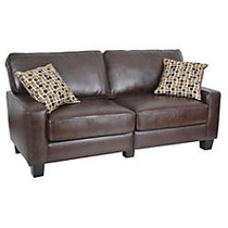 Serta; RTA Monaco Collection Leather Sofa, 35 inch;H x 77 inch;W x 32 1/2 inch;D, Bonded Leather, Brown