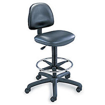 Safco; Precision Extended-Height Chair, 42-54 inch;H x 25 inch;W x 25 inch;D, Black Frame, Black Vinyl