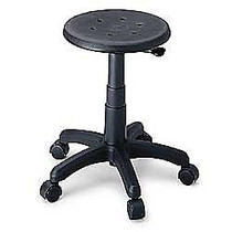 Safco; Task Master; Office Stool, 21 inch;H x 24  inch;W x 24 inch;D, Black Frame, Black Fabric