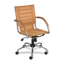 Safco; Flaunt Collection Microfiber Mid-Back Chair, 40 inch;H x 37 inch;W x 25 inch;D, Chrome Frame, Camel Fabric