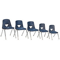 Scholar Craft™ 120 Series Student Stacking Chairs, Small, 25 inch;H x 15 3/4 inch;W x 18 inch;D, Navy, Set Of 5