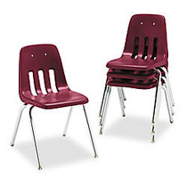 Virco; 9000-Series Plastic Stack Chairs, 30 5/8 inch;H x 18 5/8 inch;W x 21 1/2 inch;D, Wine/Chrome, Pack Of 4