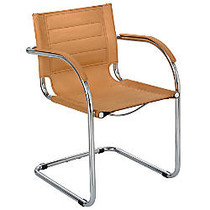 Safco; Flaunt-Series Guest Chair, 31 3/4 inch;H x 21 1/2 inch;W x 23 inch;D, Chrome/Camel Microfiber