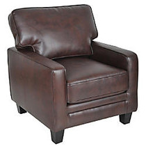 Serta; RTA Monaco Collection Bonded Leather Accent Chair, 35 inch;H x 30 inch;W x 32 1/2 inch;D, Brown