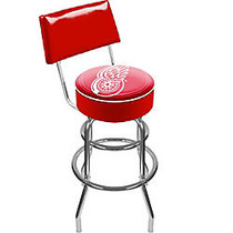 Trademark Global Padded Bar Stool, With Back, Detroit Redwings, Chrome