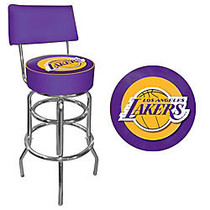 Trademark Global Padded Bar Stool, With Back, Los Angeles Lakers NBA, Chrome