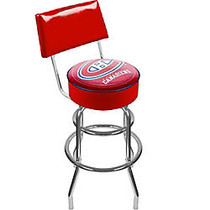 Trademark Global Padded Bar Stool, With Back, Montreal Canadiens, Chrome
