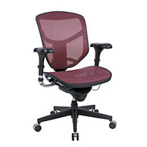 WorkPro; Quantum Mesh Mid-Back Task Chair, 43 3/4 inch;H x 29 1/2 inch;W x 28 inch;D, Black Frame, Red Fabric