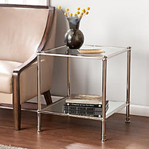 Southern Enterprises Paschall End Table, Square, 23 1/2 inch;H x 21 1/2 inch;W x 21 1/2 inch;D, Clear/Silver