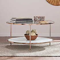Southern Enterprises Risa Cocktail Table, Round, 18 1/4 inch;H x 33 3/4 inch;W x 33 3/4 inch;D, White/Metallic Gold