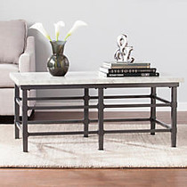 Southern Enterprises Tulane Cocktail Table, Rectangular, 19 1/4 inch;H x 43 inch;W x 23 3/4 inch;D, Faux Marble/Black