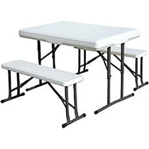 Stansport Folding Picnic Table With Bench, 4 inch;H x 28 1/2 inch;W x 46 1/2 inch;D, White