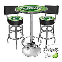 Trademark Global Bud Light Lime Ultimate Game Room 28 inch; Round Green/Chrome Pub Table With 2 Bar Stools