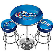 Trademark Global Bud Light Ultimate Game Room 28 inch; Round Blue/Chrome Pub Table With 2 Bar Stools