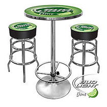 Trademark Global Bud Light Ultimate Game Room 28 inch; Round Green/Chrome Pub Table With 2 Bar Stools, Bud Light Lime