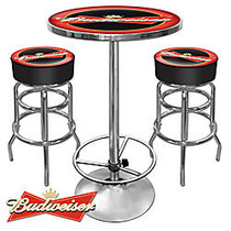Trademark Global Budweiser Ultimate Game Room 28 inch; Round Red/Chrome Pub Table With 2 Bar Stools
