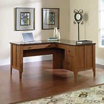 Sauder; Appleton Collection, Faux Marble Top L Desk, 30 3/4 inch;H x 60 inch;W x 59 inch;D, Sand Pear
