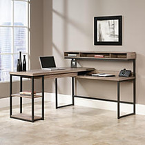 Sauder; Transit Collection Multi-Tiered L-Shaped Desk, 42 1/2 inch;H x 60 3/4 inch;W x 59 inch;D, Salted Oak