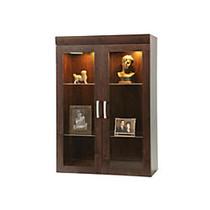 Sauder; Office Port Collection, Display Hutch, 47 1/2 inch;H x 33 1/8 inch;W x 15 3/4 inch;D, Dark Alder