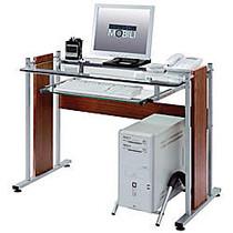 Techni Mobili Computer Desk, 30 inch;H x 22 inch;W x 40 inch;D, Mahogany/Glass