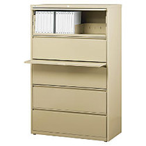 WorkPro; Steel Lateral File, 5-Drawer, 67 5/8 inch;H x 36 inch;W x 18 5/8 inch;D, Putty