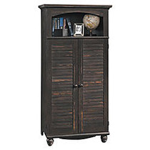 Sauder; Harbor View Computer Armoire, 67 3/4 inch;H x 33 3/4 inch;W x 21 3/4 inch;D, Antiqued Paint
