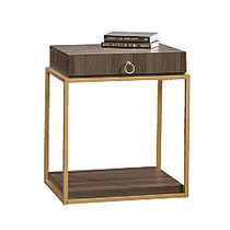 Sauder; International Lux Square Side Table With Drawer, 25 3/8 inch;H x 22 inch;W x 18 1/2 inch;D, Diamond Ash/Brushed Gold