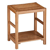 Honey-Can-Do Bamboo Spa Bench, 19 5/8 inch;H x 12 5/8 inch;W x 16 1/2 inch;D, Natural