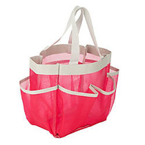 Honey-Can-Do Quick-Dry Shower Tote, 9 inch;H x 8 inch;W x 6 inch;D, Pink/Silver