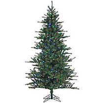 Fraser Hill Farm 7 1/2' Southern Peace Pine Artificial Christmas Tree With Multi-Color LED Lighting, Green/Black